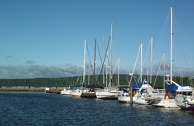 Sailboats docked in the Washburn Marina.